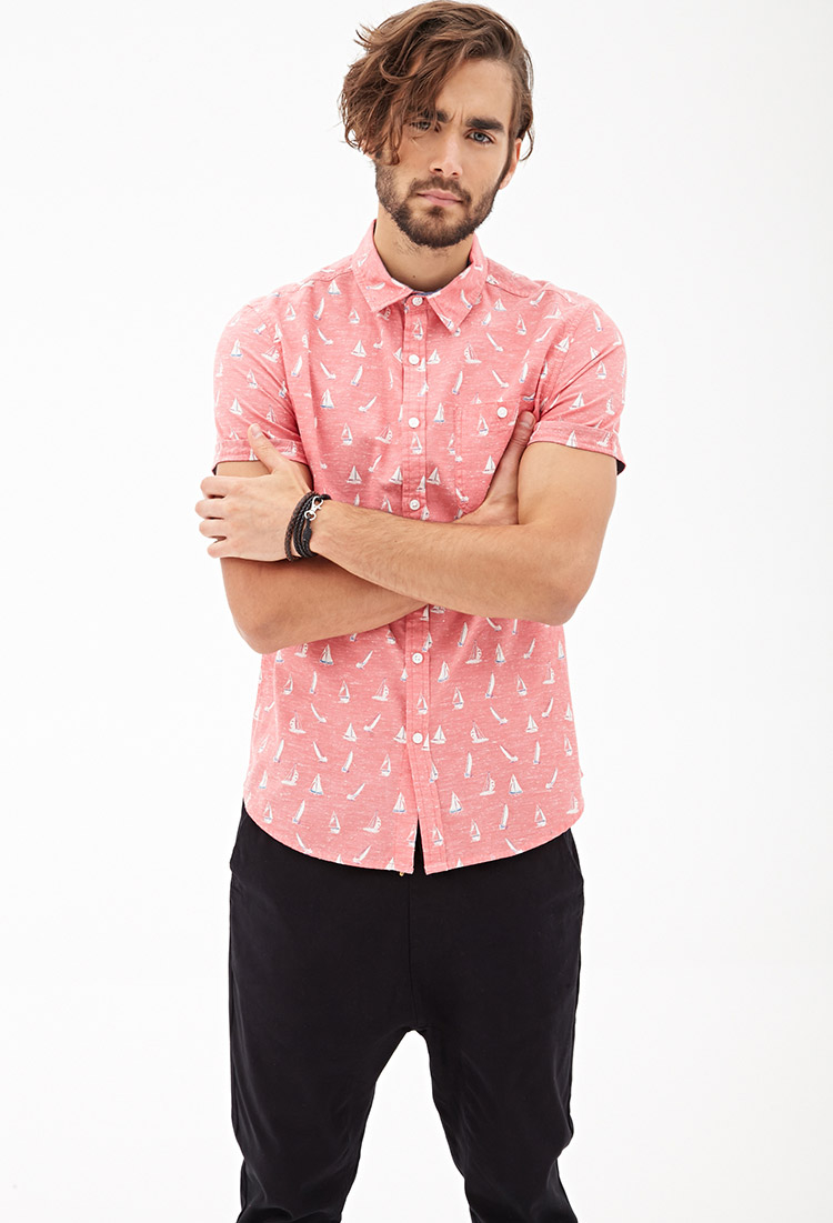 Lyst Forever 21 Sailboat Print Shirt In Pink For Men
