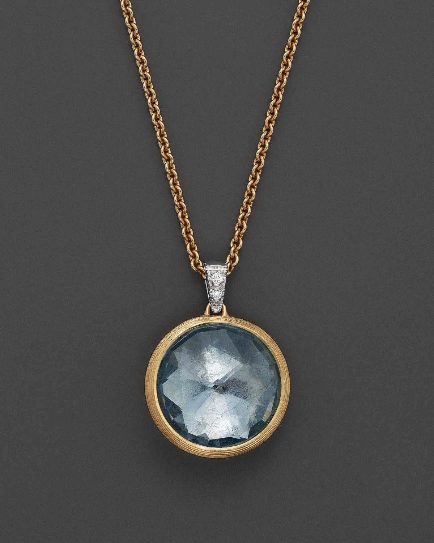 Marco Bicego Jaipur 18k Blue Topaz & Diamond Pendant Necklace 2i2ZltE1p