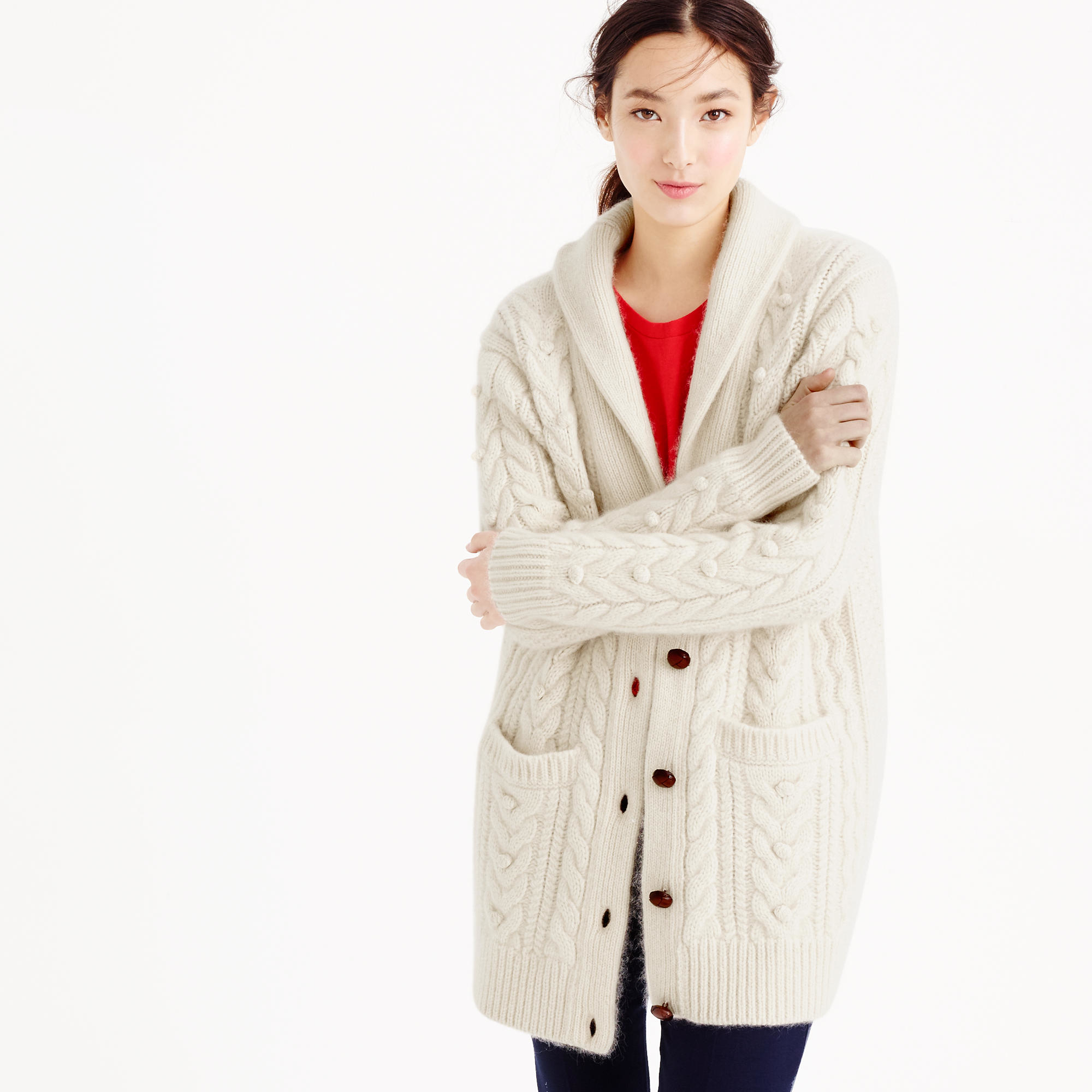 J.crew Collection Cashmere-mohair Cable Cardigan Sweater ...