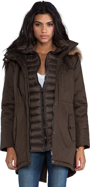 Soia Amp Kyo Elora Down Coat With Removable Fur Hood In Army