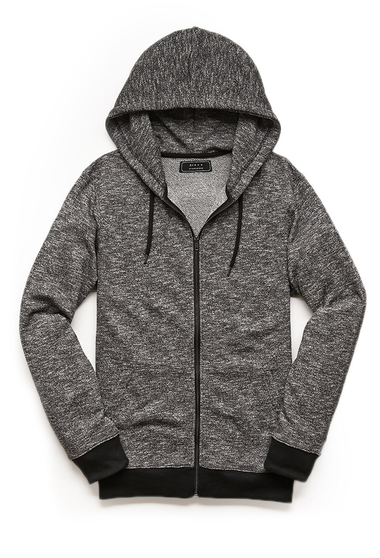 Zippered Hoodie Knitting Pattern : Forever 21 Marled Knit Zippered Hoodie in Black for Men Lyst
