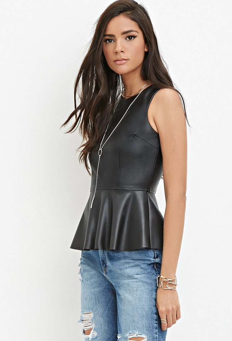 ebd9ed1026 Forever 21 Faux Leather Peplum Top in Black - Lyst