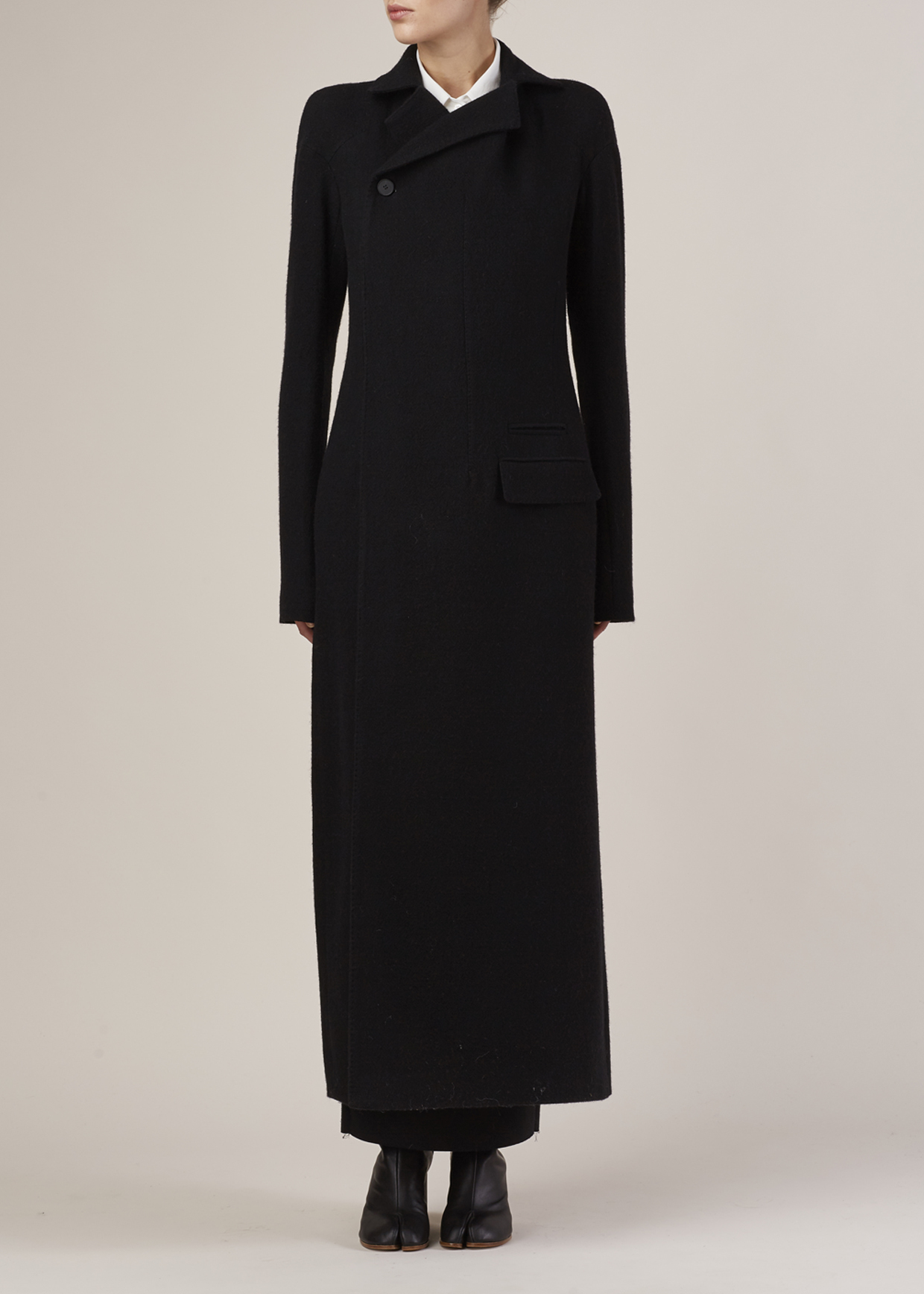 Haider ackermann Black Long Wool Linen Coat in Black | Lyst
