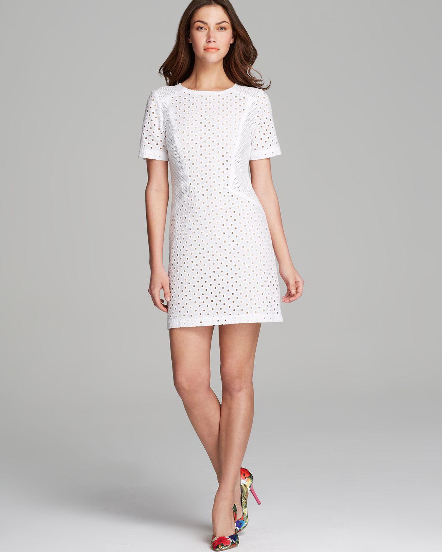 Trina Turk Dress Marquise Circle Eyelet In White Lyst