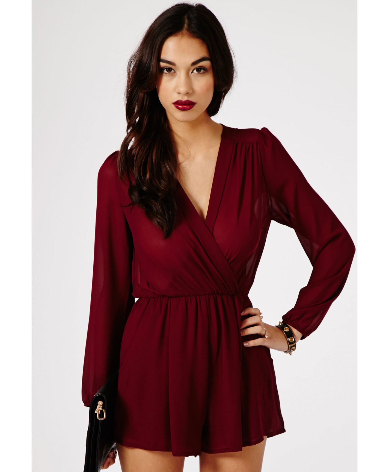 46773db985 Lyst - Missguided Colate Crossover Chiffon Playsuit in Burgundy in Red