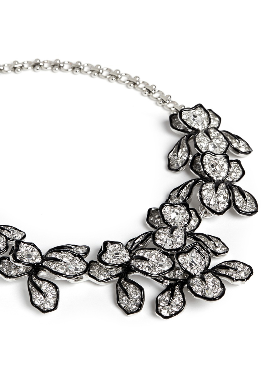 Kenneth Jay Lane Pavé Rose Necklace Crystal iBzTbT3