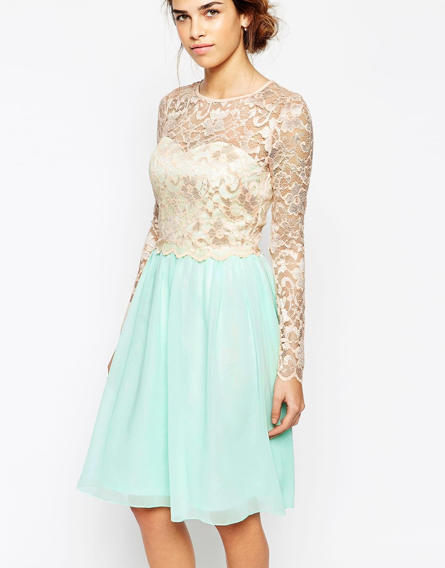 Full skirt lace cocktail dress