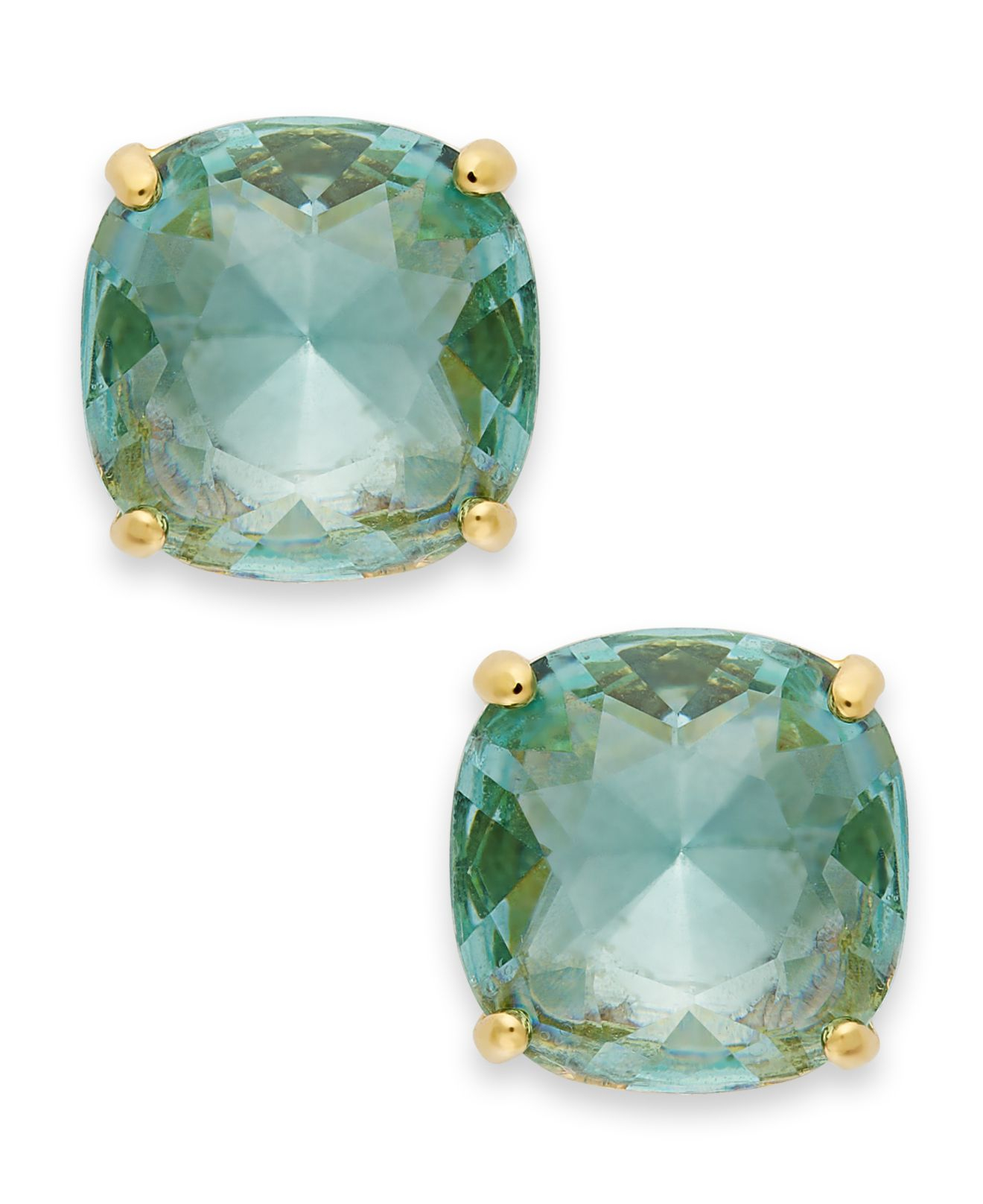 Kate Spade New York 12k Gold Plated Blue Stone Square Stud