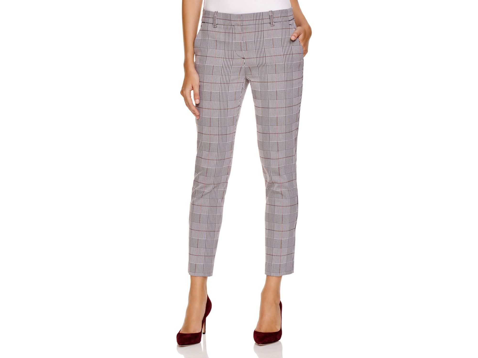 Theory Treeca Brant Check Pants in Black | Lyst