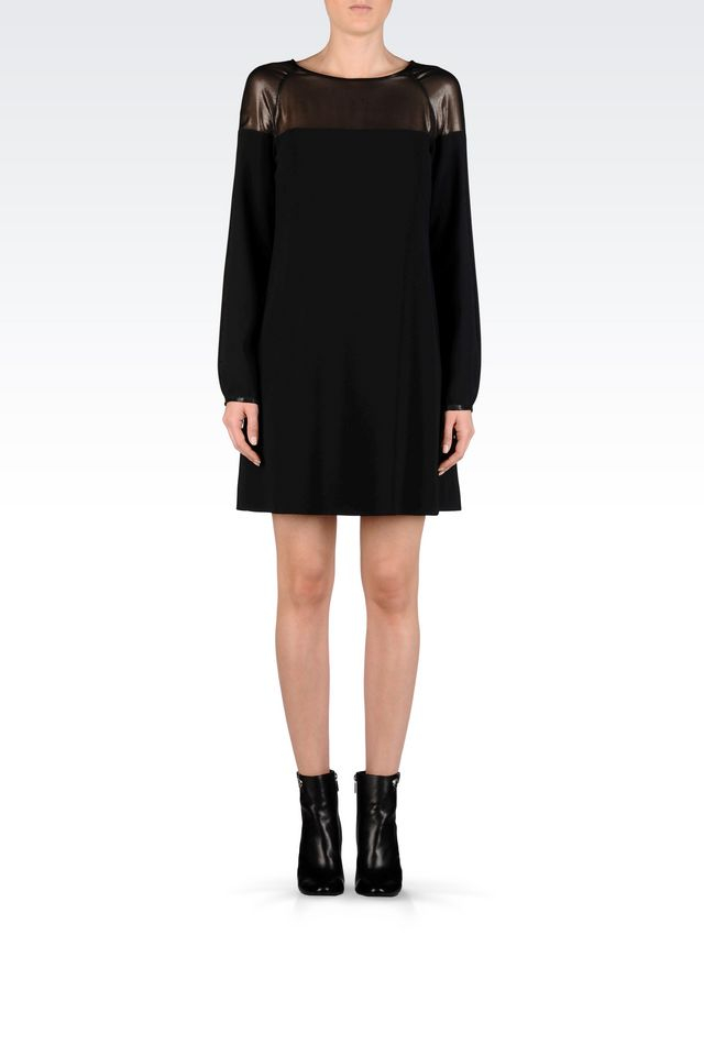armani sleeve crepe dress in black lyst