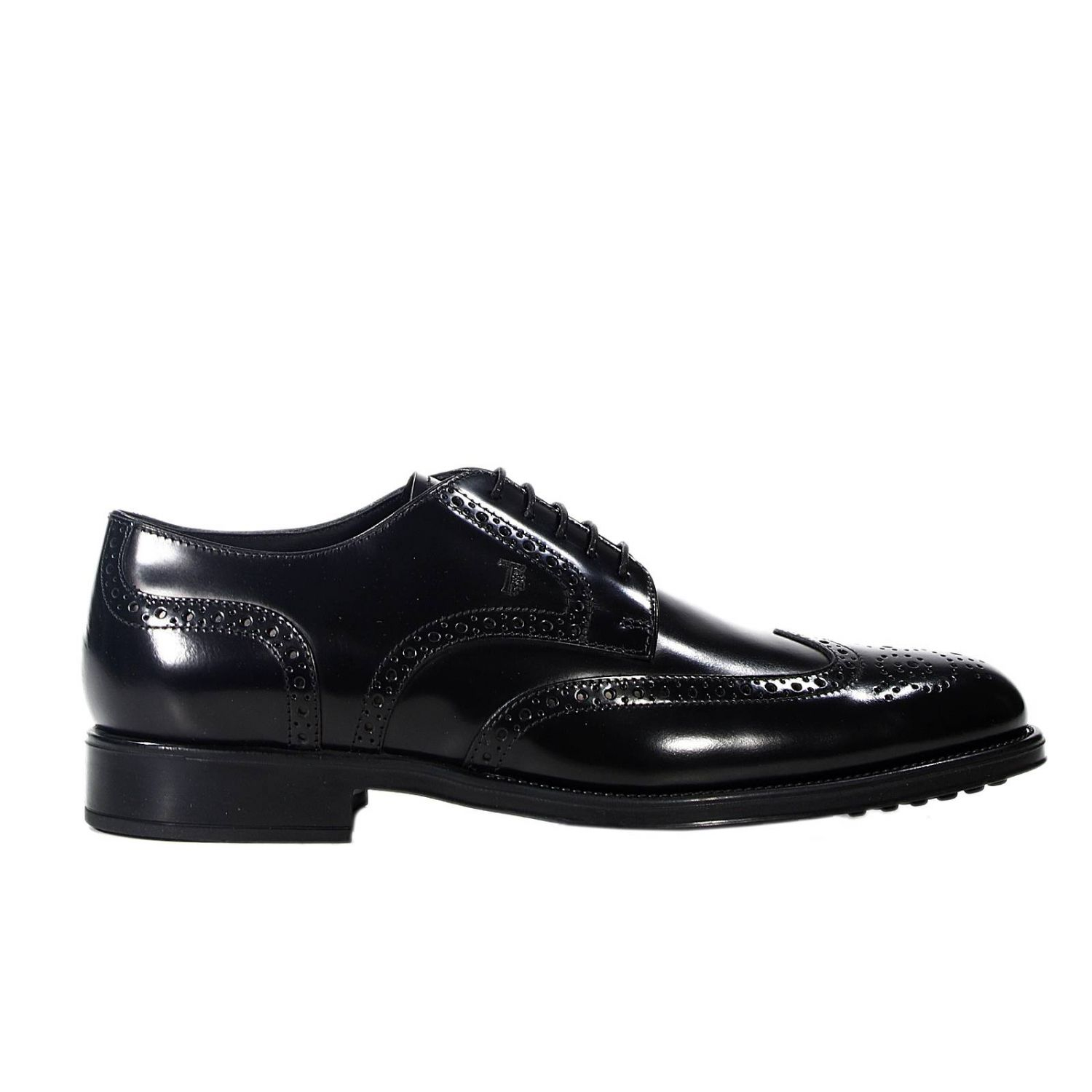 tod s shoes derby rubber sole perforated leather brushed