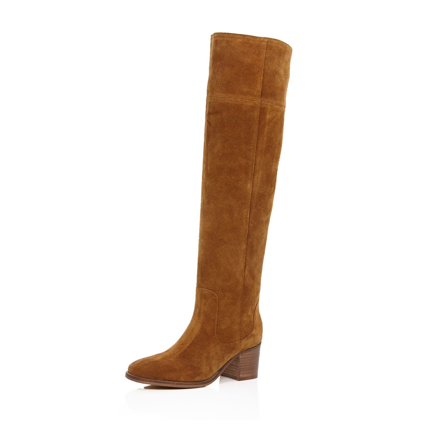 River island Tan Brown Suede Knee High Boots in Brown | Lyst