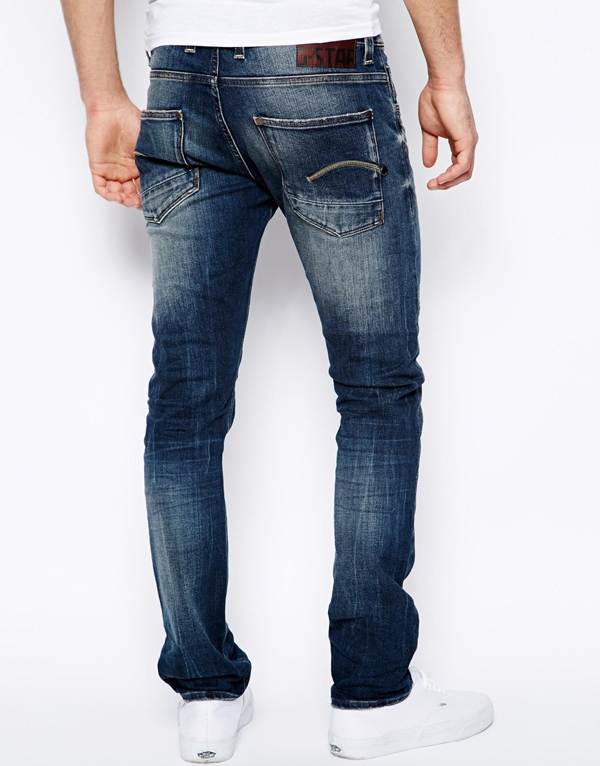 star raw g star jeans defend super slim fit medium aged in blue for. Black Bedroom Furniture Sets. Home Design Ideas