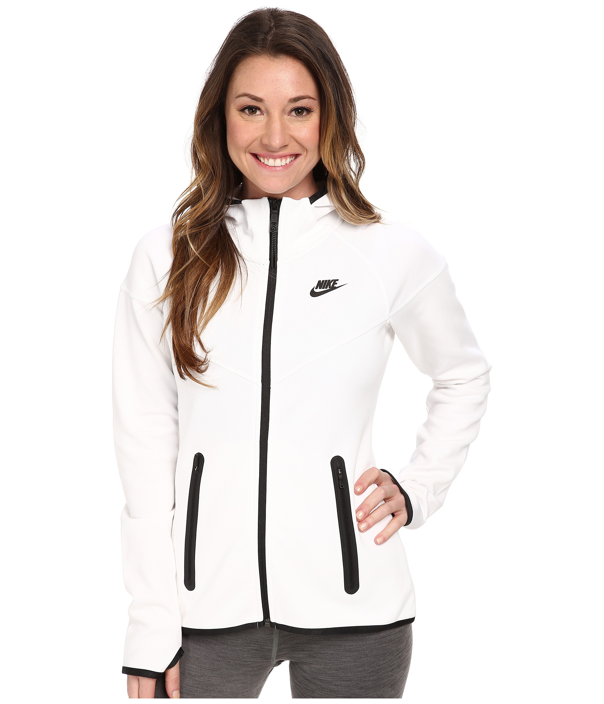Nike Tech Fleece Full-Zip Hoodie in White | Lyst
