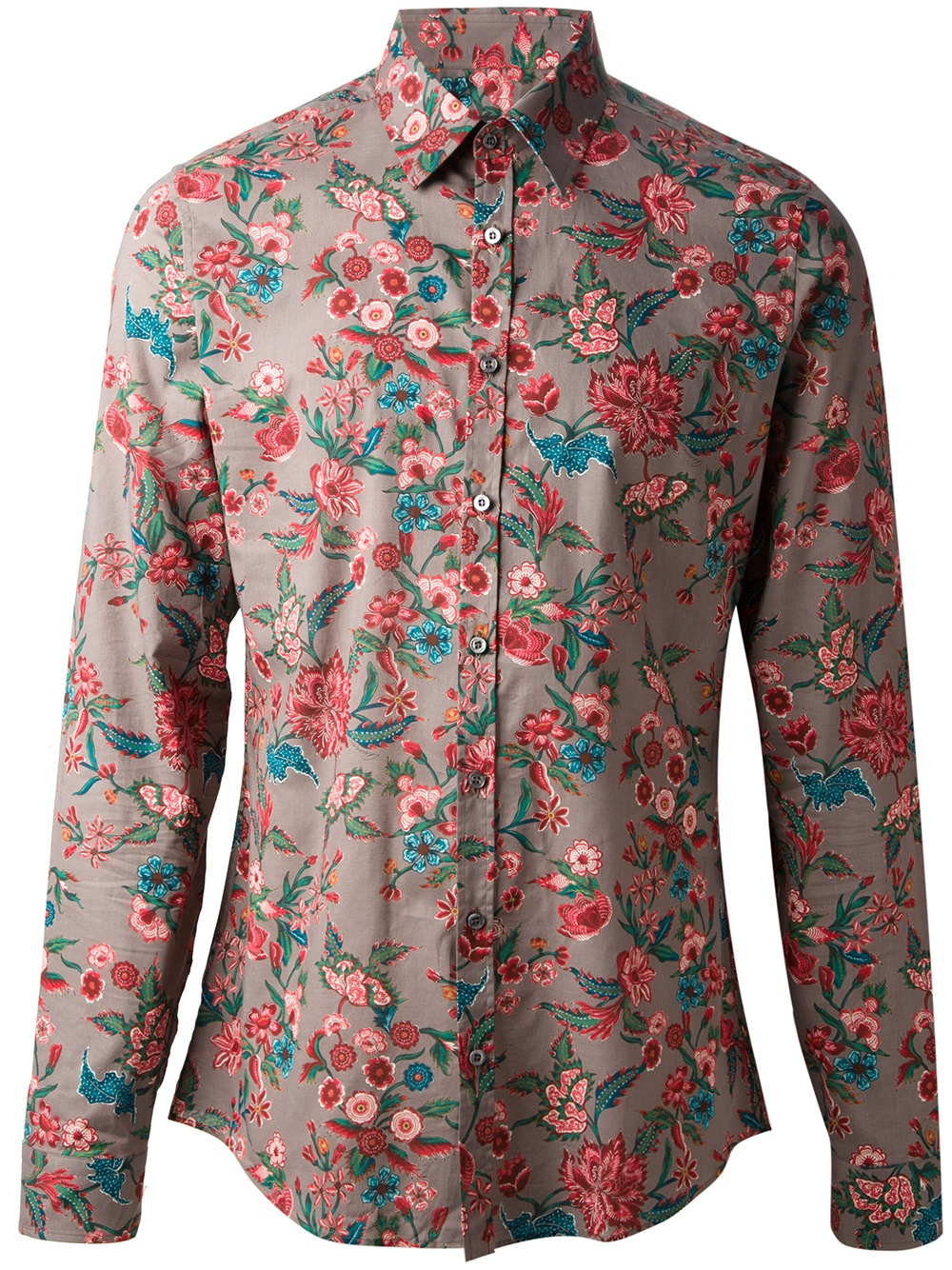 Lyst gucci floral print shirt for men for Printed shirts for men