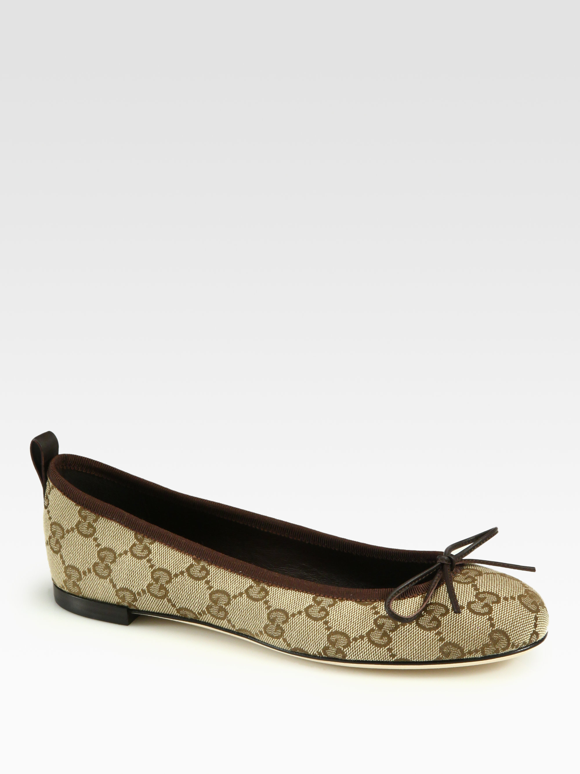 gucci ali canvas leather ballet flats in brown cocoa