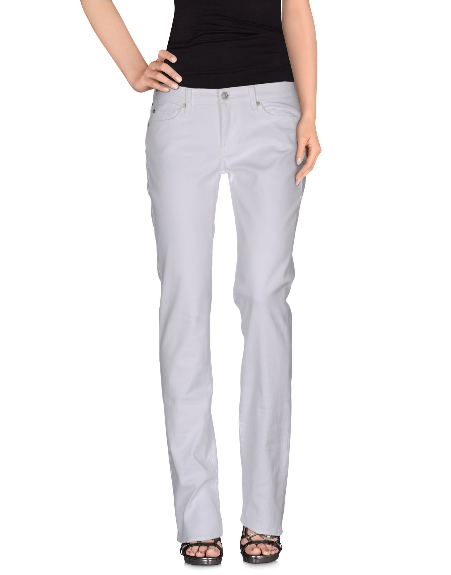 7 for all mankind denim trousers in white lyst. Black Bedroom Furniture Sets. Home Design Ideas
