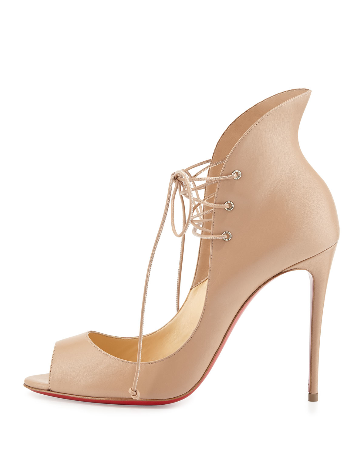 mens white christian louboutin - Christian louboutin Mega Vamp Lace-up Red Sole Pump in Pink (NUDE ...