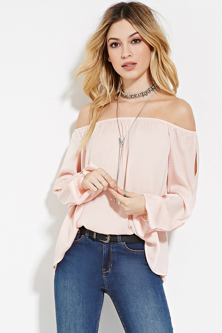63763a779f2b Lyst - Forever 21 Satin Off-the-shoulder Top in Pink