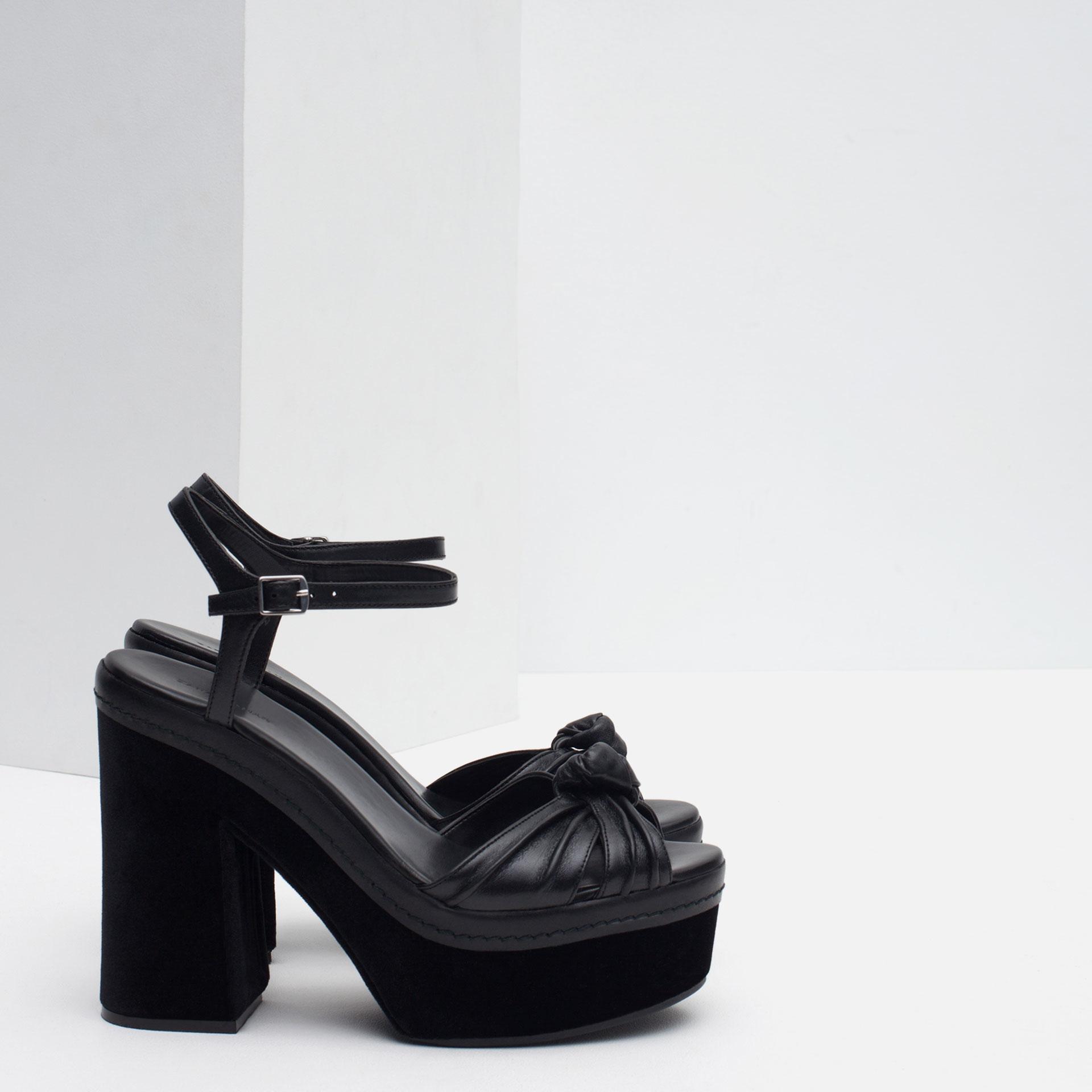 zara leather platform sandals in black lyst