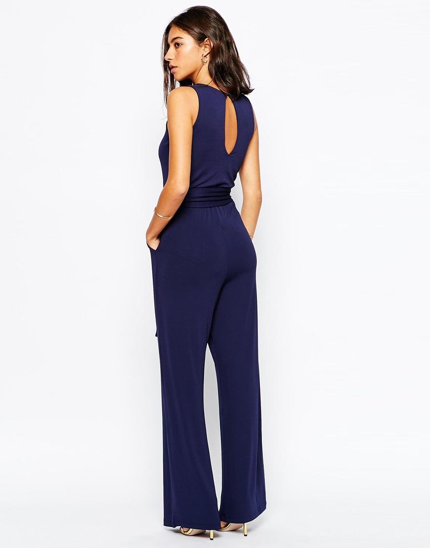 e1ea82c17c14 Lyst - Warehouse Wide-Leg Jersey Jumpsuit in Blue