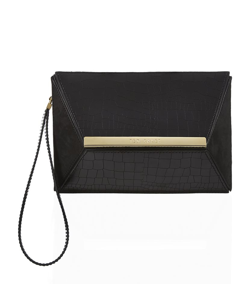 5625dc808a6fe Ted Baker Evaa Angular Clutch Bag in Black - Lyst