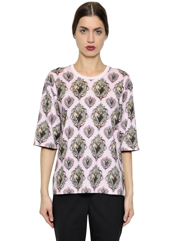 Dolce gabbana oversized sacred heart cotton t shirt in for Dolce gabbana t shirt women