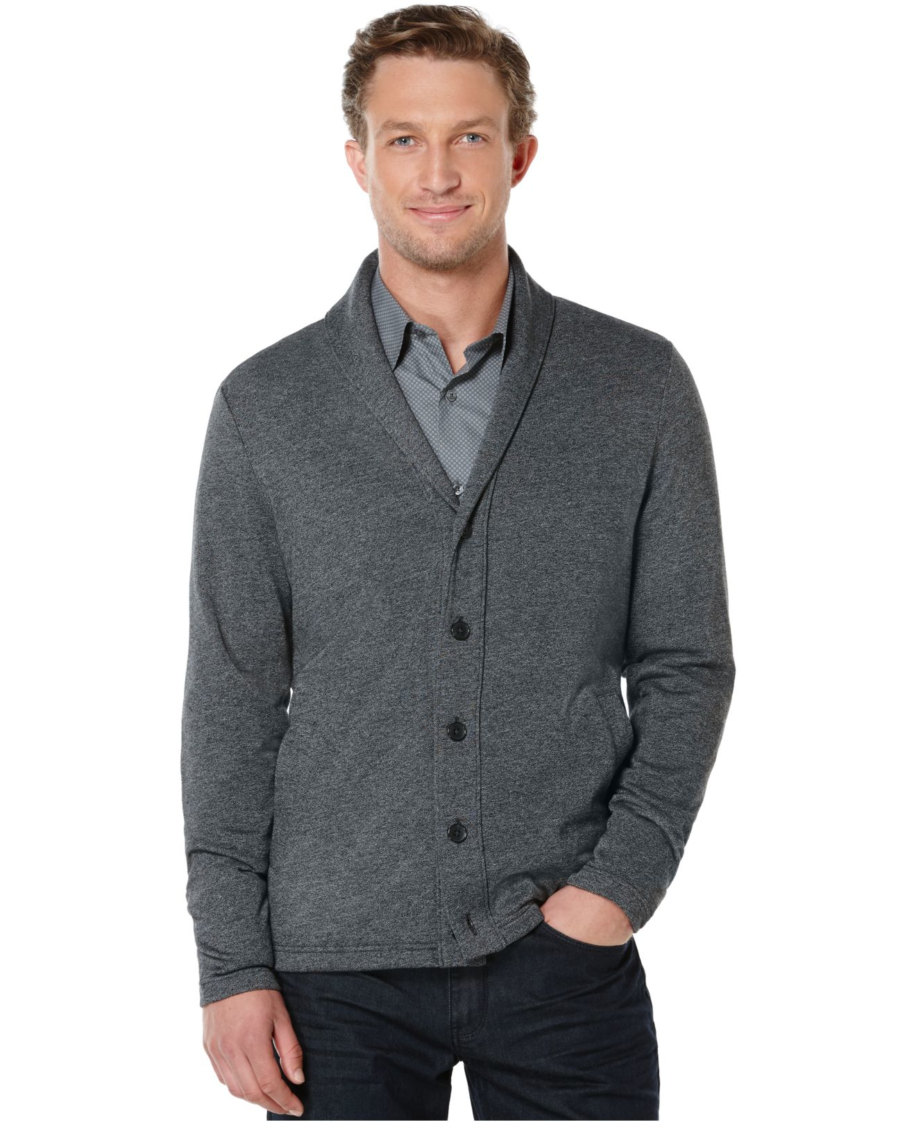 Perry ellis Shawl Collar Button-front Cardigan Sweater in Black ...