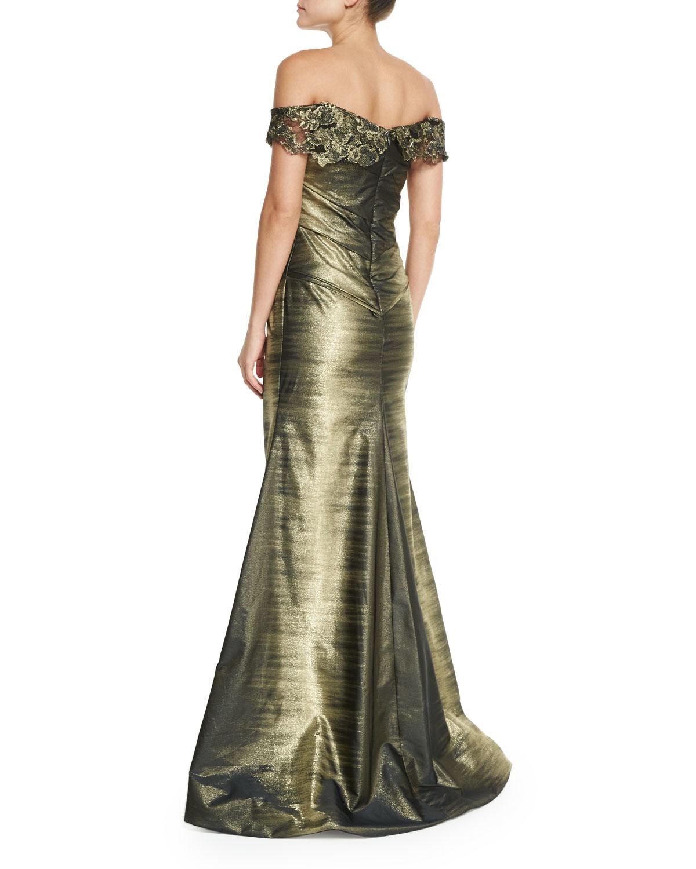 Lyst - Rene Ruiz Off-the-shoulder Ombre Gown in Metallic