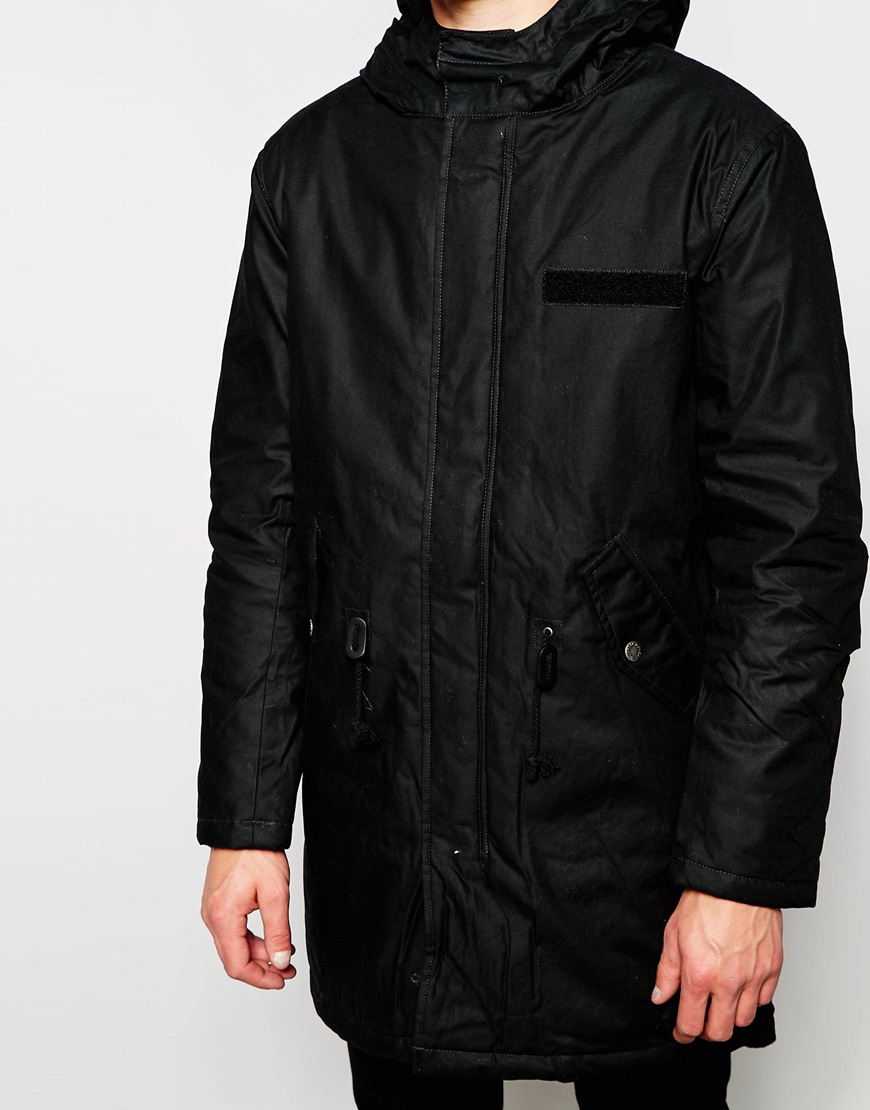 Cheap monday Hooded Parka Jacket Cage Padded in Black for Men | Lyst