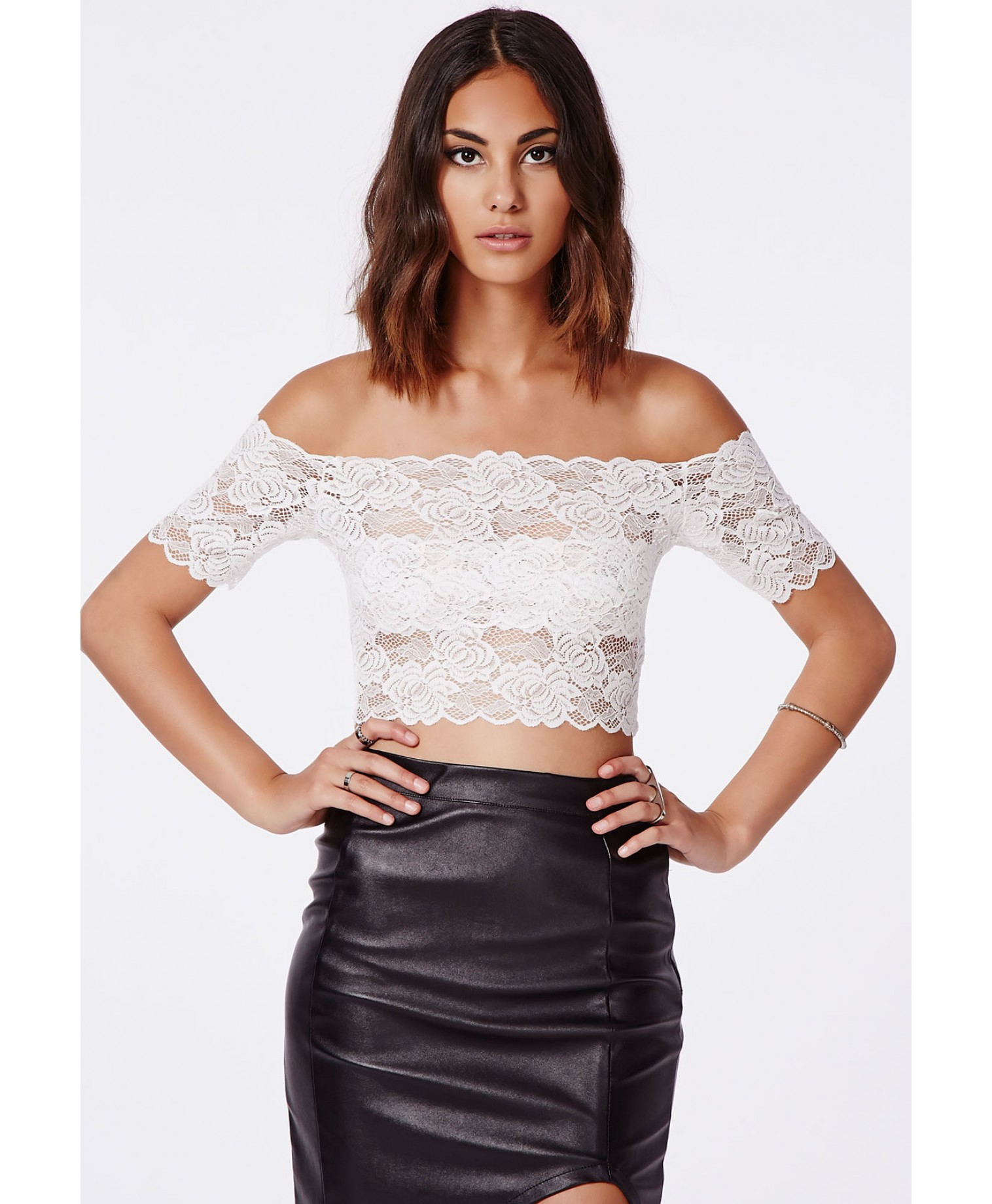 39488dafba7ce Lyst - Missguided Telimesa White Bardot Lace Crop Top in White