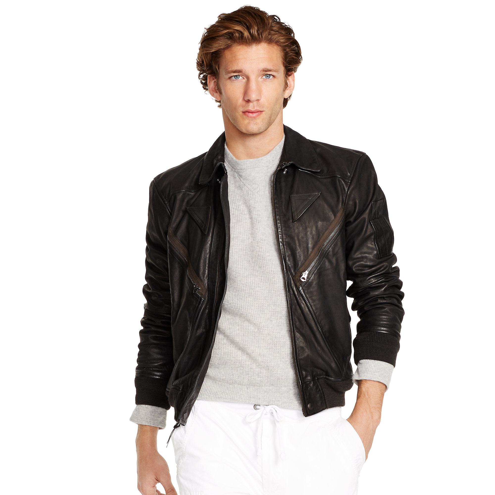 Polo ralph lauren Leather Flight Jacket in Black for Men | Lyst