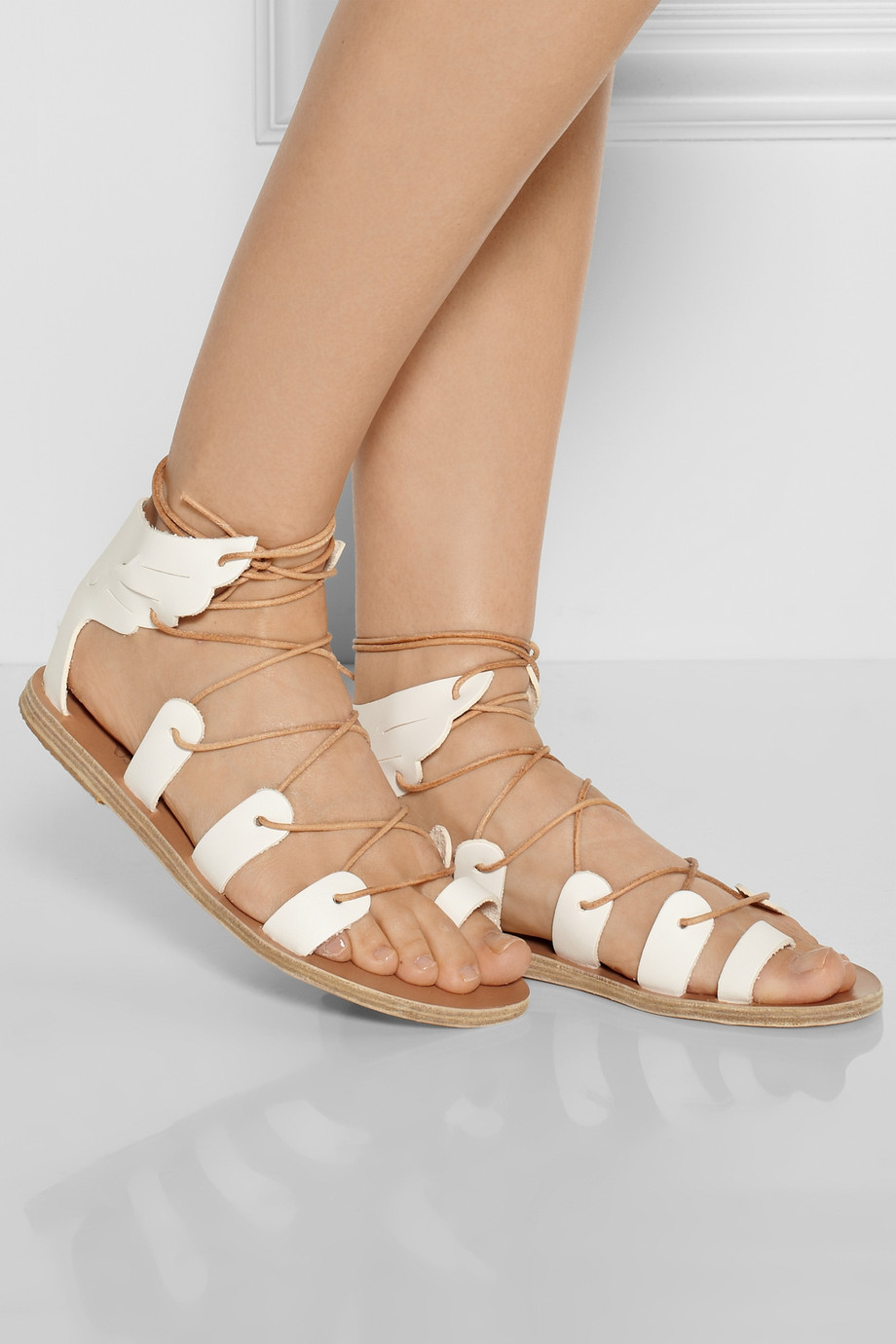 Ancient Greek Sandals Fteroti Leather Lace Up Sandals In