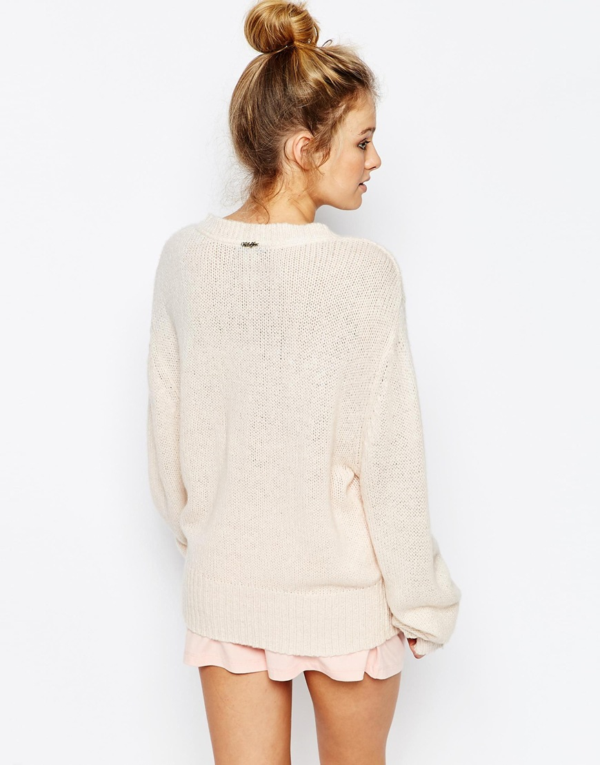 Lyst Wildfox King Of Hearts V Neck Jumper In Natural