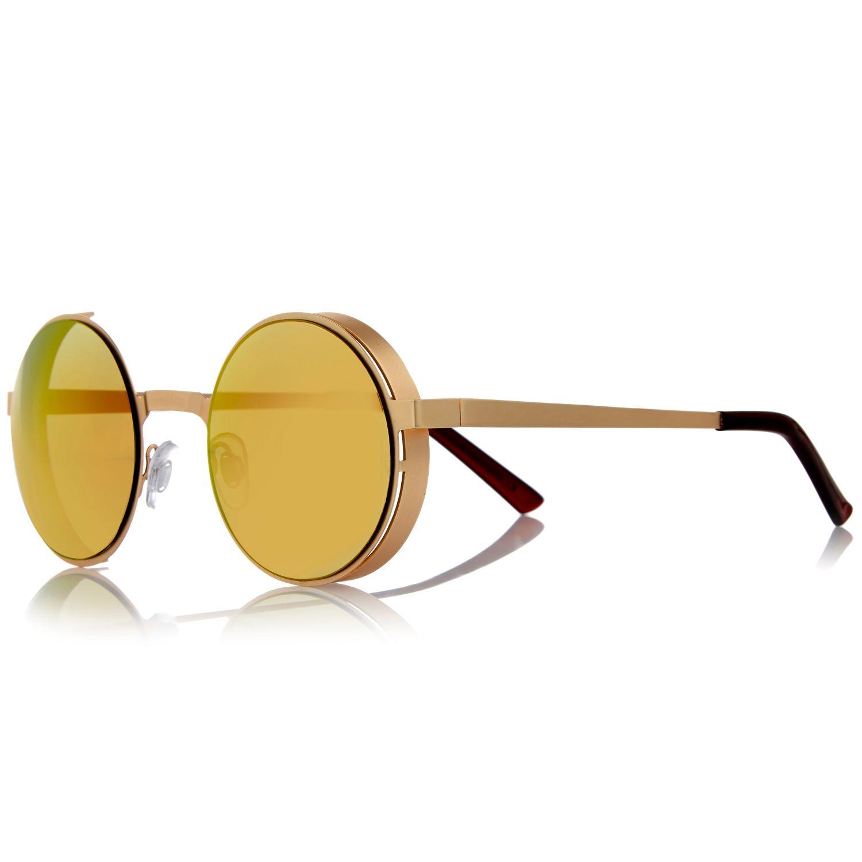 Sunglasses Island  river island gold tone retro round sunglasses in metallic lyst