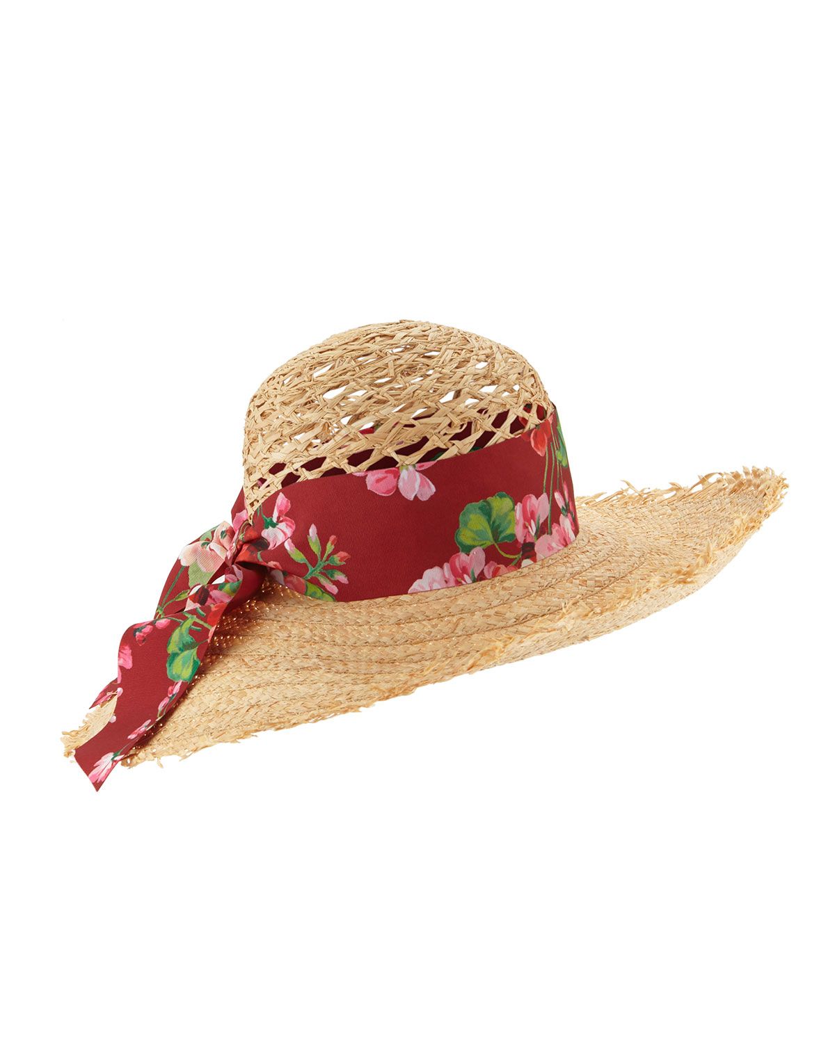 Lyst Gucci Large Brim Sun Hat W Floral Tie In Natural
