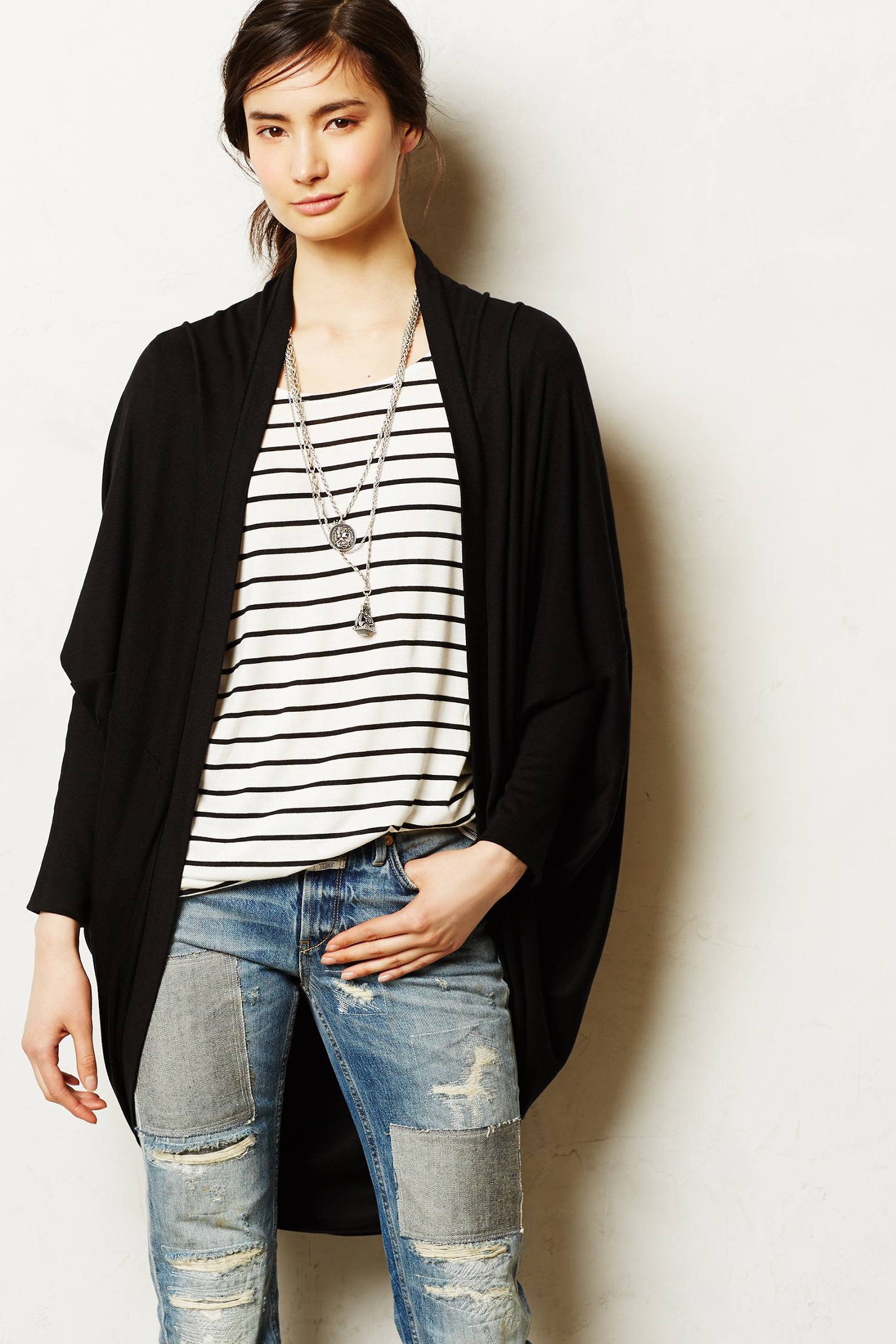 Bordeaux Ribbed Cocoon Cardigan in Black | Lyst