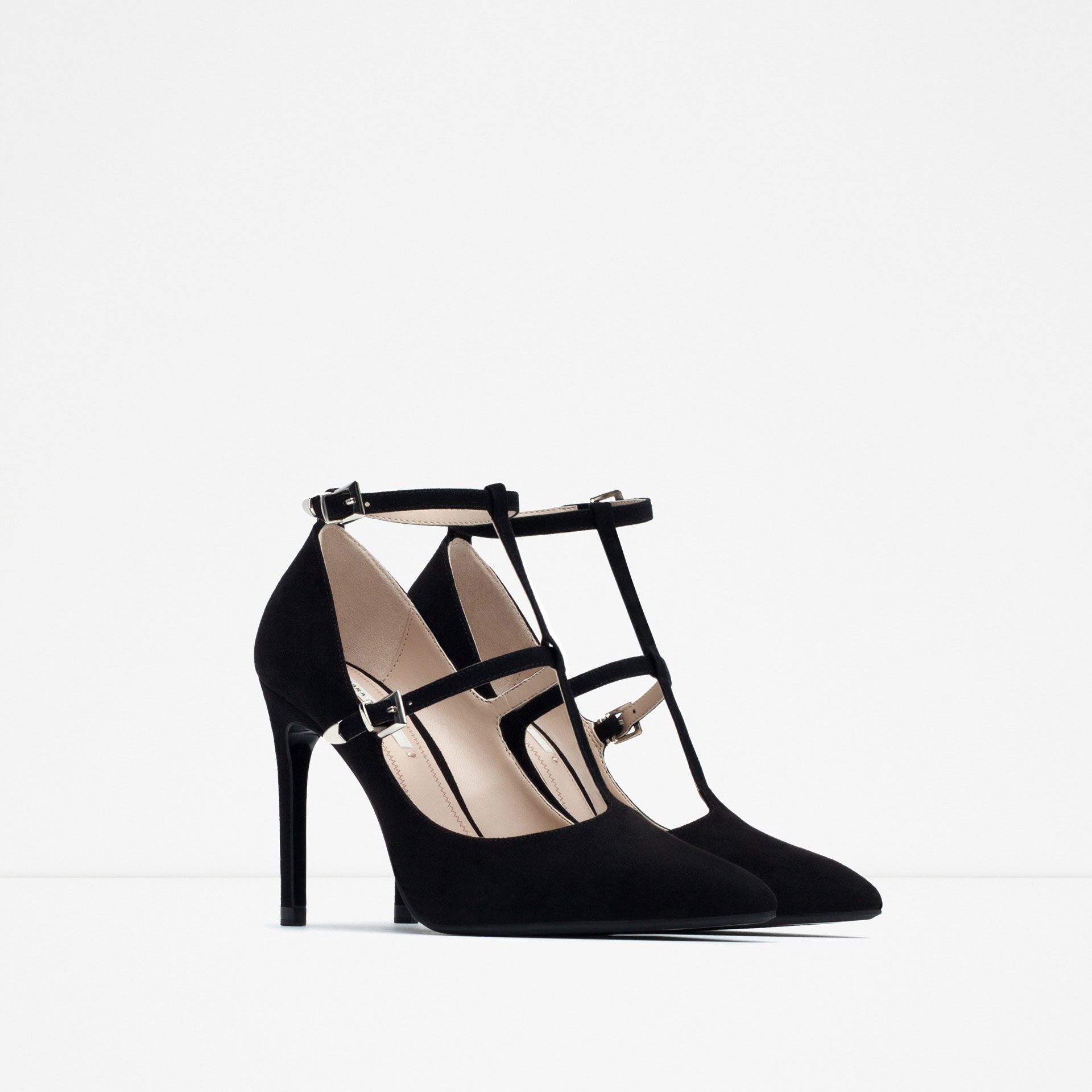 zara high heel shoes with ankle straps in lyst