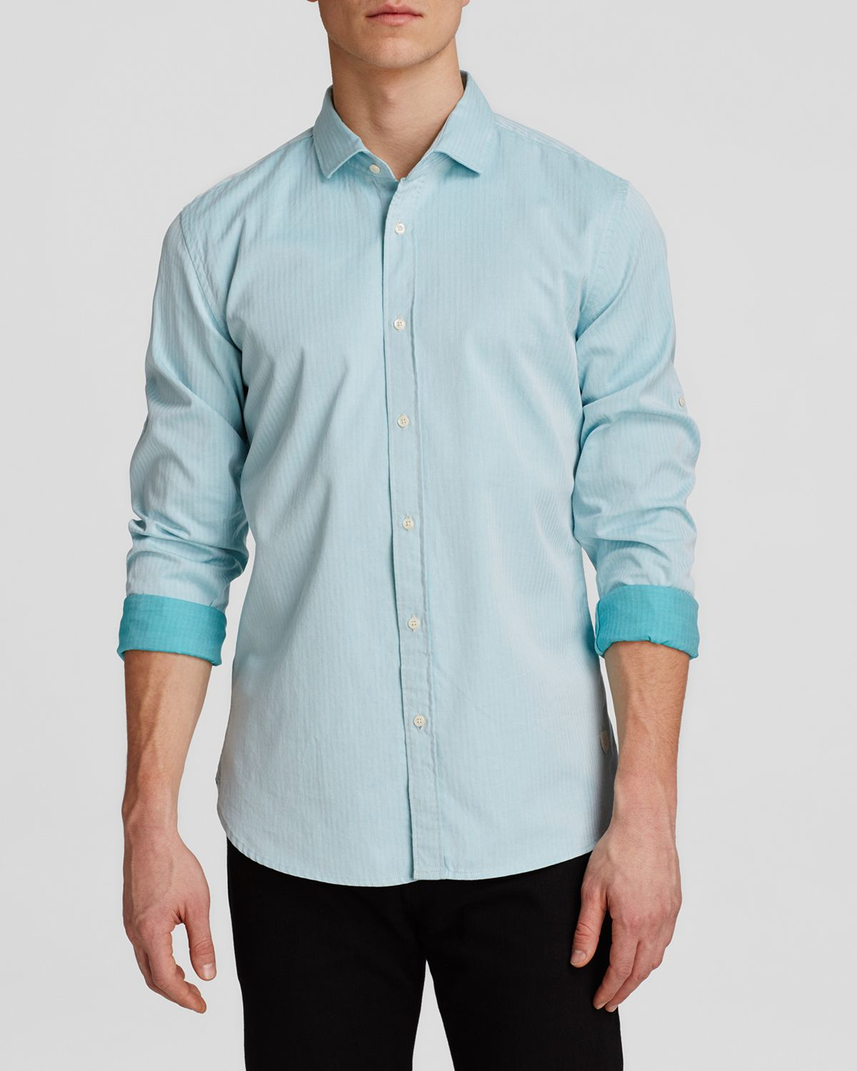 Scotch soda stripe button down shirt slim fit in green for Athletic fit button down shirts