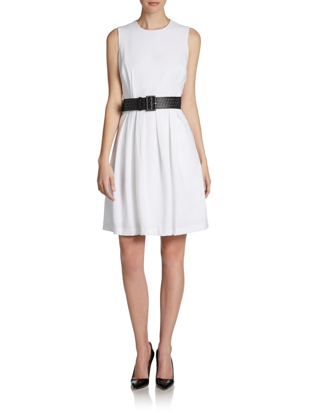 calvin klein belted fit and flare dress in white lyst