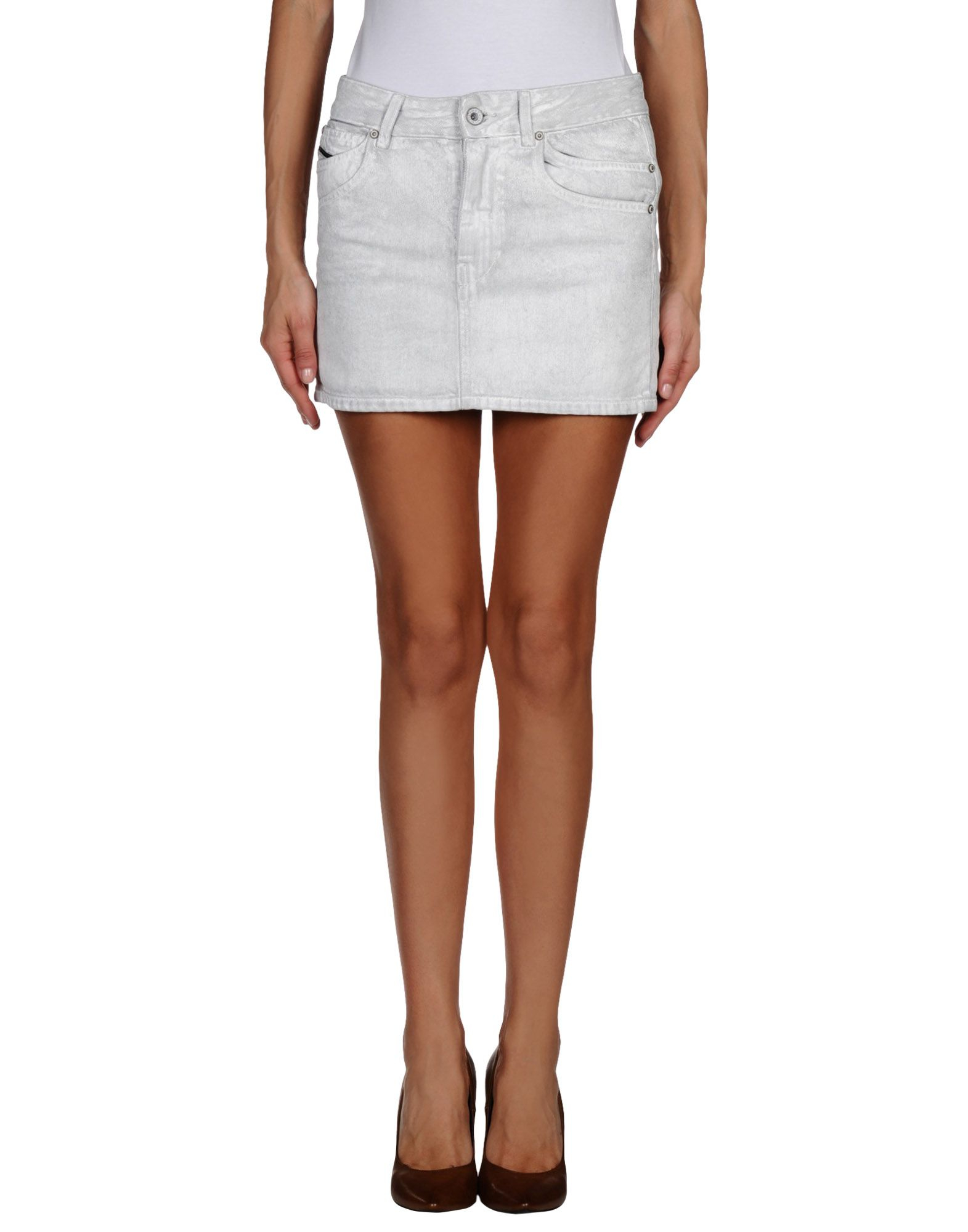 diesel black gold denim skirt in gray light grey
