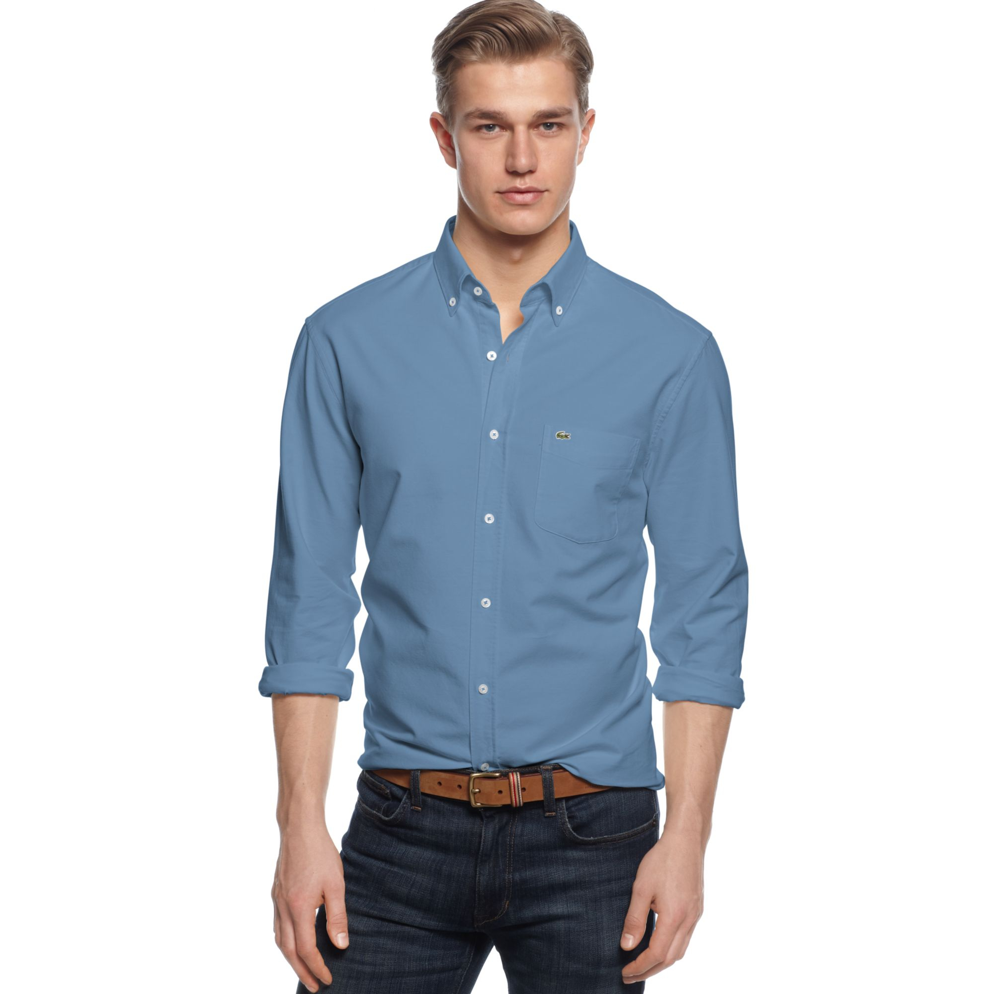 Lacoste Long Sleeve Button Down Oxford Shirt in Blue for Men | Lyst