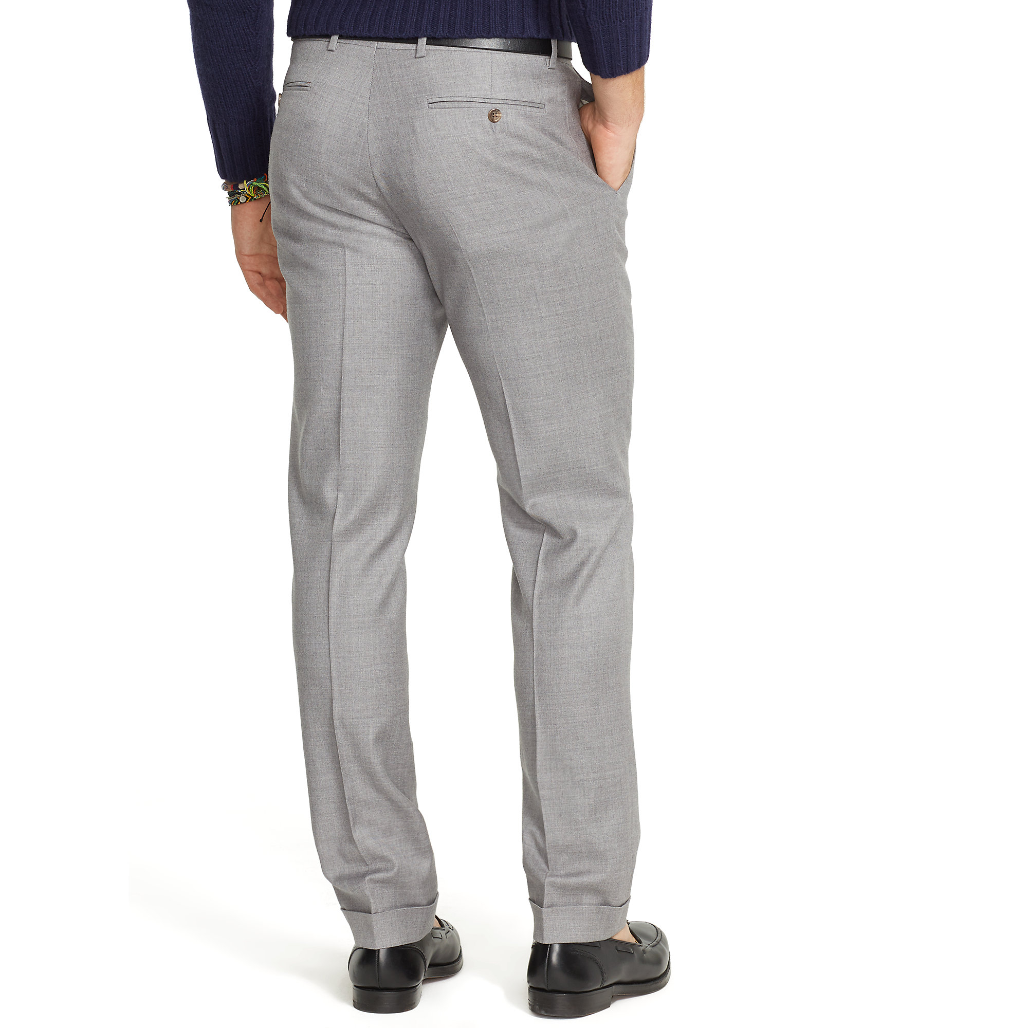ralph lauren slim fit wool twill trouser in gray for men heather grey. Black Bedroom Furniture Sets. Home Design Ideas