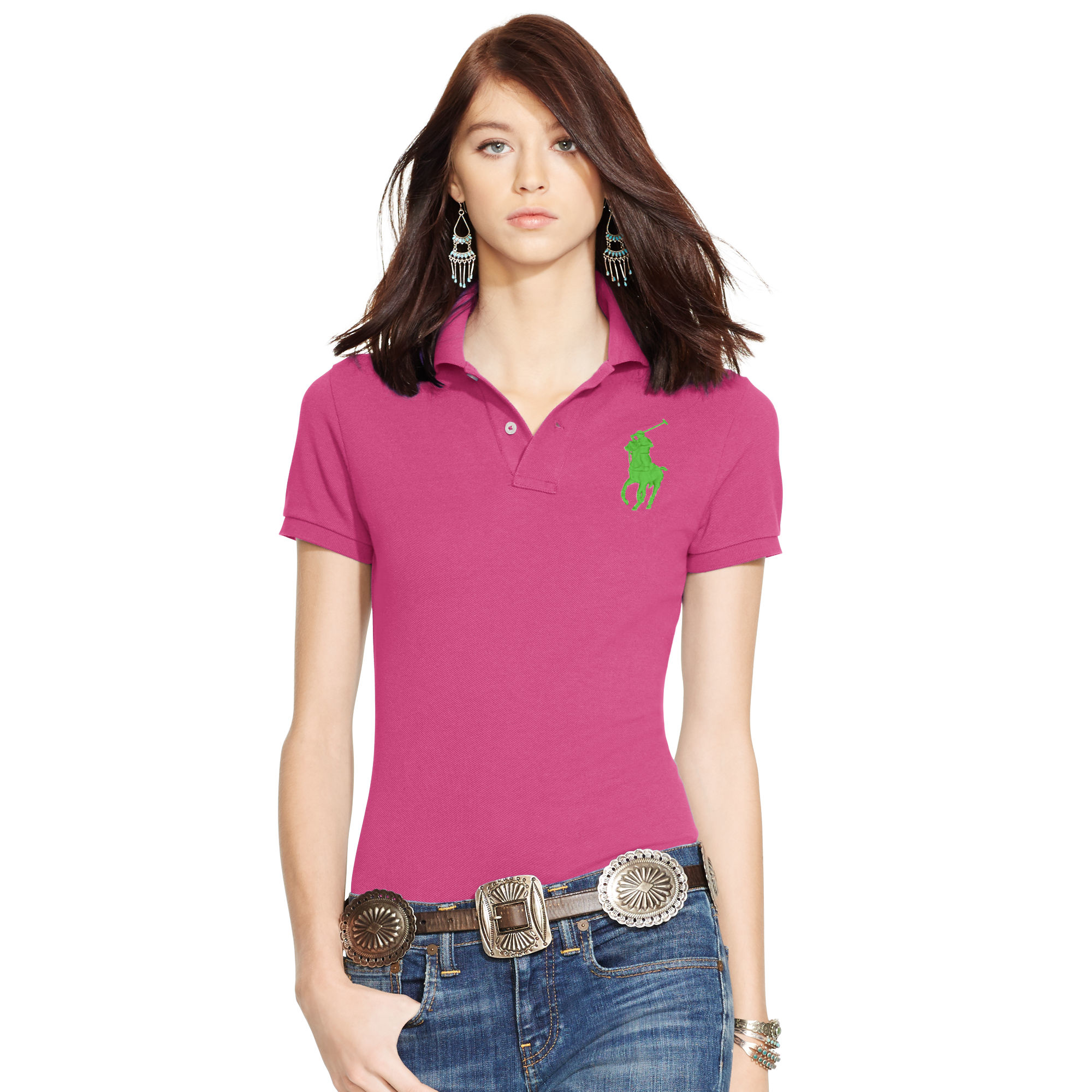 dcd472f72d48 Polo Ralph Lauren Skinny-fit Big Pony Polo Shirt in Pink - Lyst