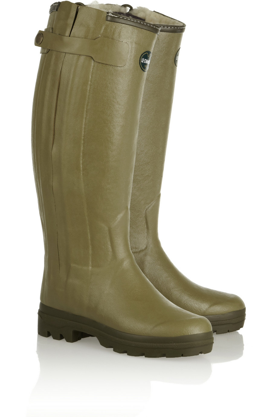 Le Chameau Chasseur Shearling Lined Rubber Rain Boots In