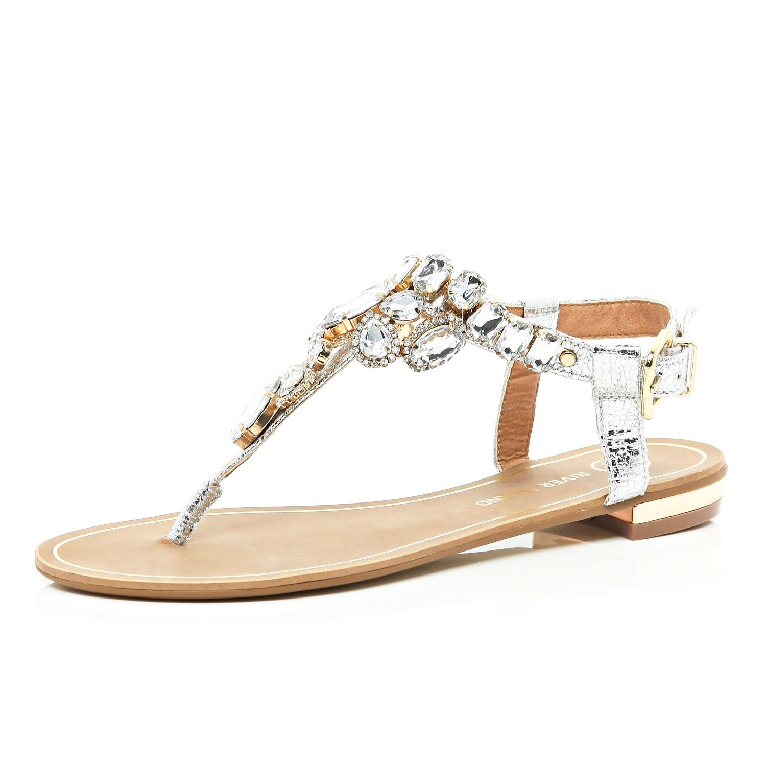 2545bc688d7 River Island Silver Gem Embellished T Bar Sandals in Metallic - Lyst
