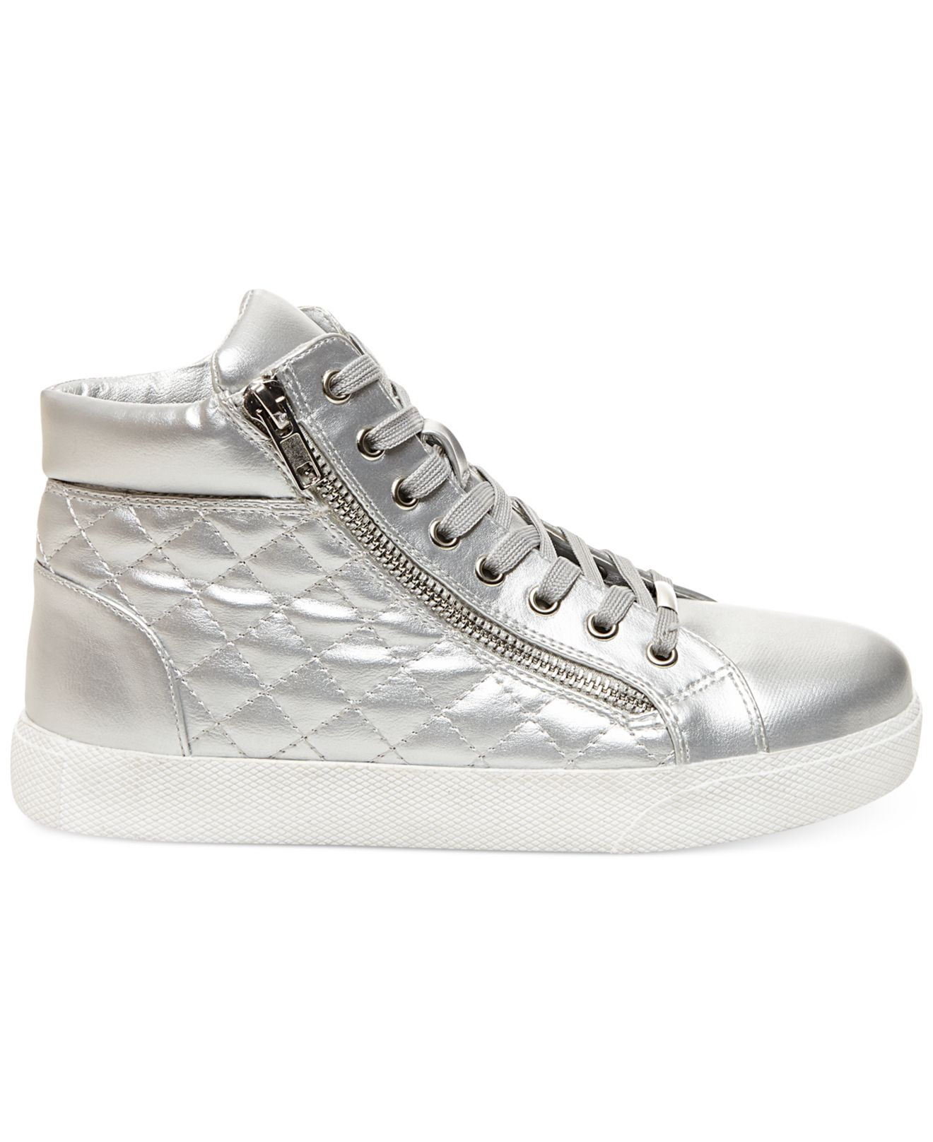88f9a1f593f Lyst - Steve Madden Decaf Hightop Quilted Platform Sneakers in Metallic
