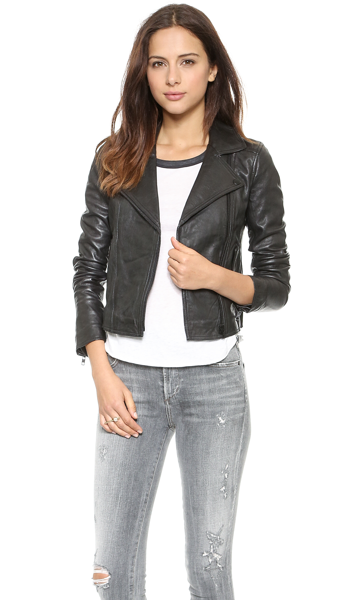 Madewell Perfect Leather Moto Jacket True Black in Black ...