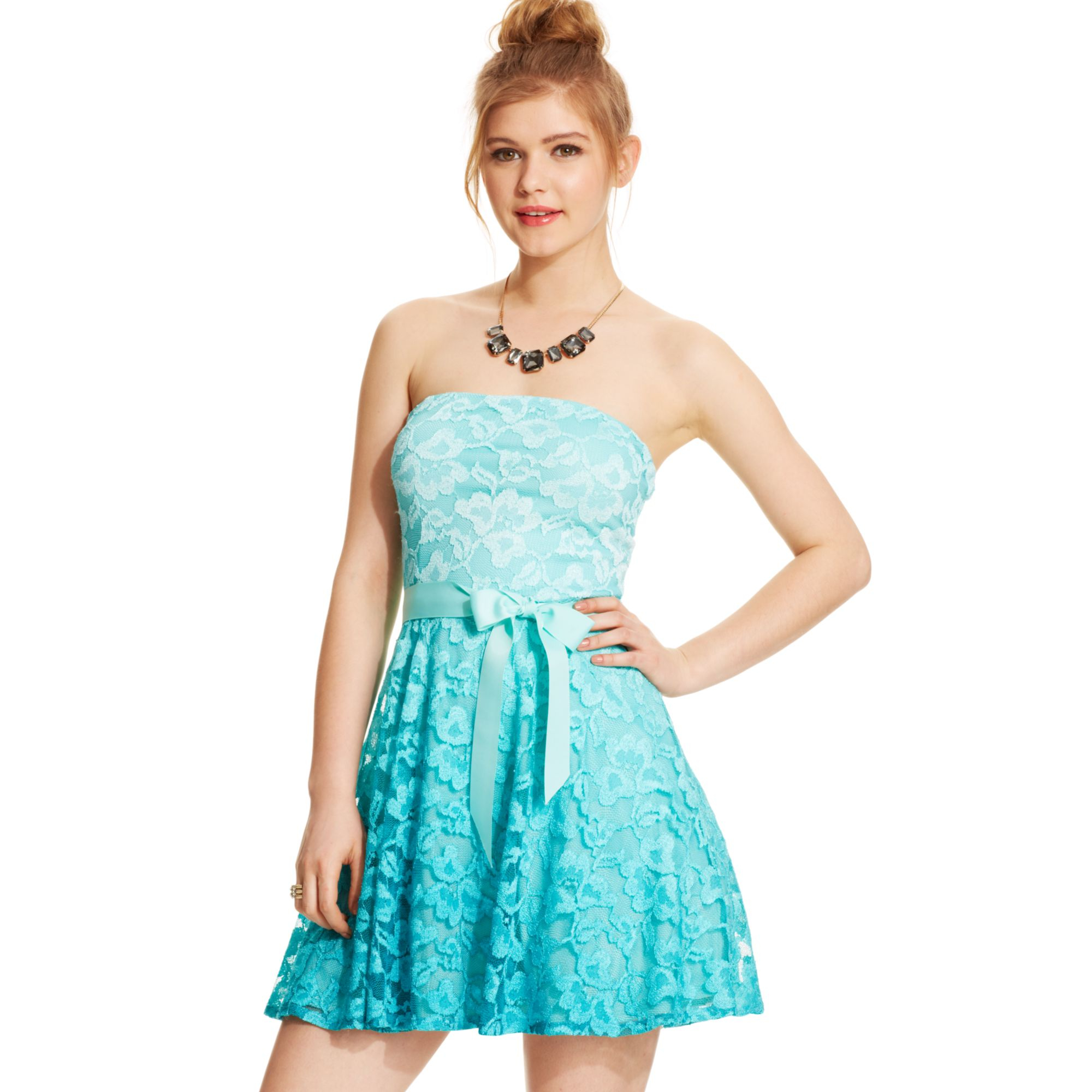 As u wish Juniors Strapless Lace Ombre Dress in Blue | Lyst