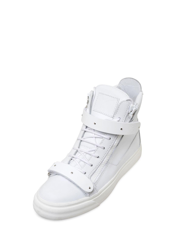 giuseppe zanotti metal leather high top sneakers in